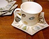 Vintage Espresso Demitasse Cup Saucers Set Nautical shells