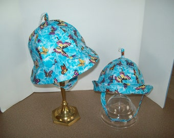 Sunhat, Butterflies on Aqua, Sizes Small 17 or  Large 19 inch, Ready to Ship, Sample Sale