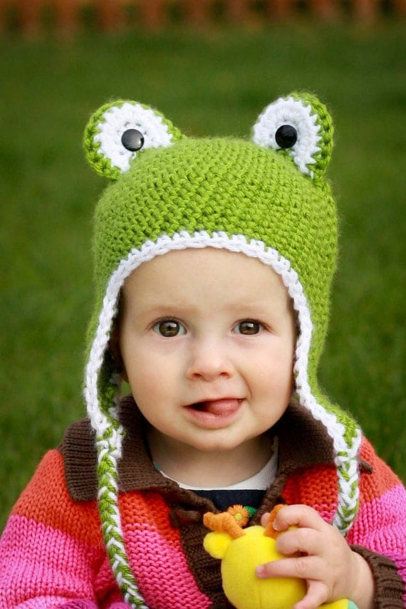 Crocheted Frog hat - 6-12 months-  Ready to Ship