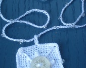 REDUCED Square Textured White Crocheted Beaded Necklace, Center Fancy White Button, Bridal, Wedding