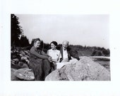 Trio of Friends By the Lake- Good Times- 1940s Vintage Photograph