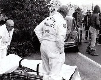 Fatal Car Accident- 1970s Vintage Photograph- Dead Body Under White Sheet- Newtown Coroners- Accidental Death- Wreck Photo- Paper Ephemera