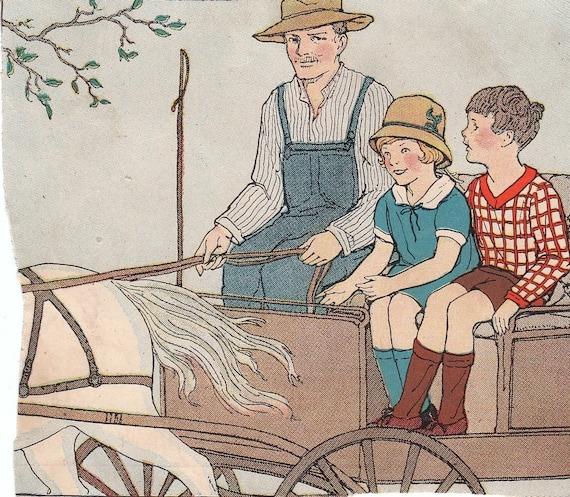 Children- SET of TWO- 1920s Children's Book Illustrations- Prints