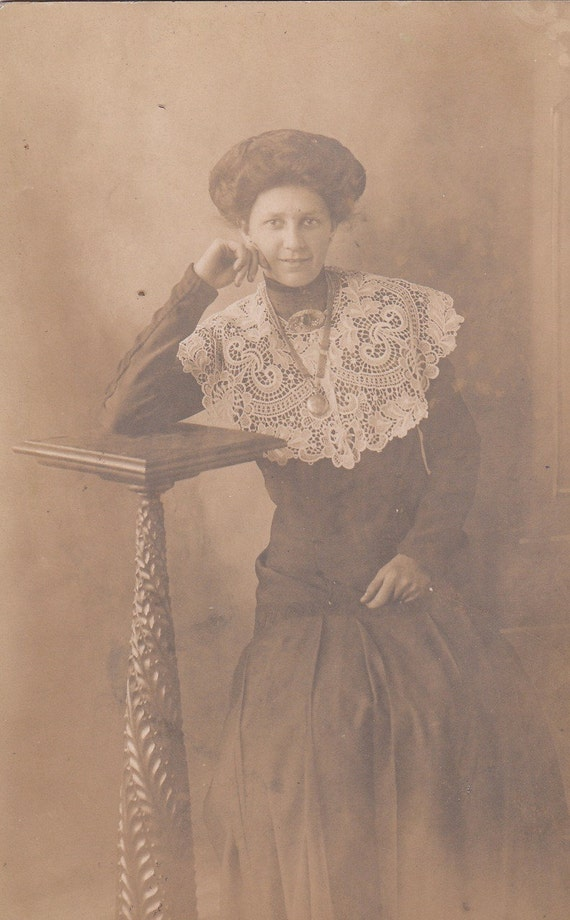 Gorgeous Lace Bib Collar and Gibson Hairstyle- Edwardian Woman- 1900s Antique Photograph- Old Photo Postcard- RPPC