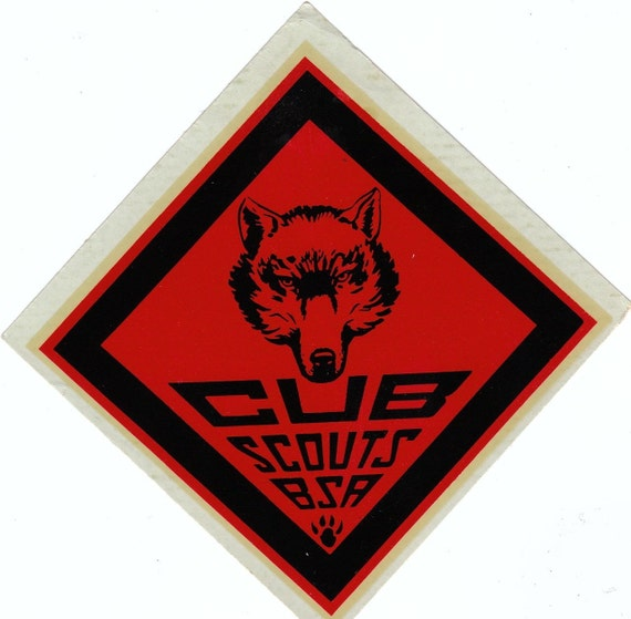 Wolf Cub Scouts- 1940s Vintage UNUSED Decal- for Wood, Metal, Glass