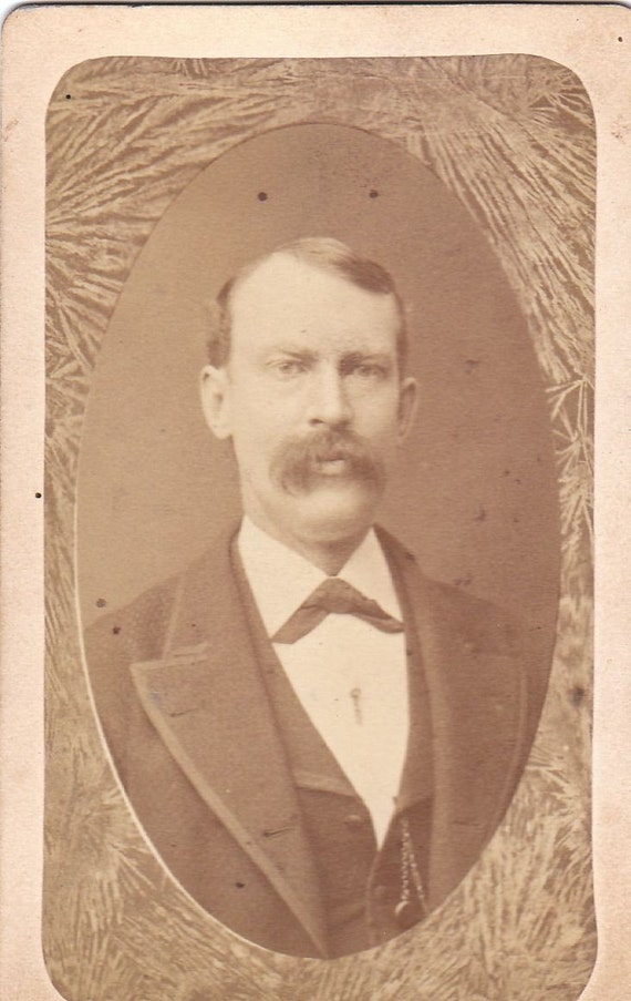 Victorian Gentleman- 1800's Antique Photograph- Fern Border Memorial- Lebanon, New Hampshire- Mustache Man- CDV Photo- Paper Ephemera