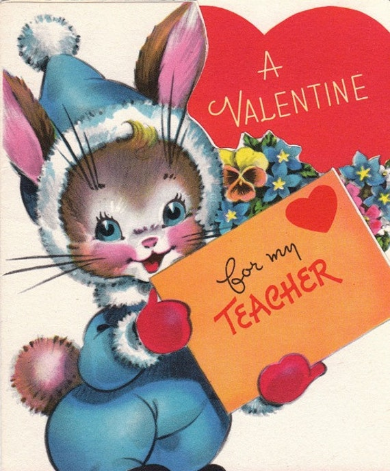 a valentine for my teacher 1960s vintage card unused