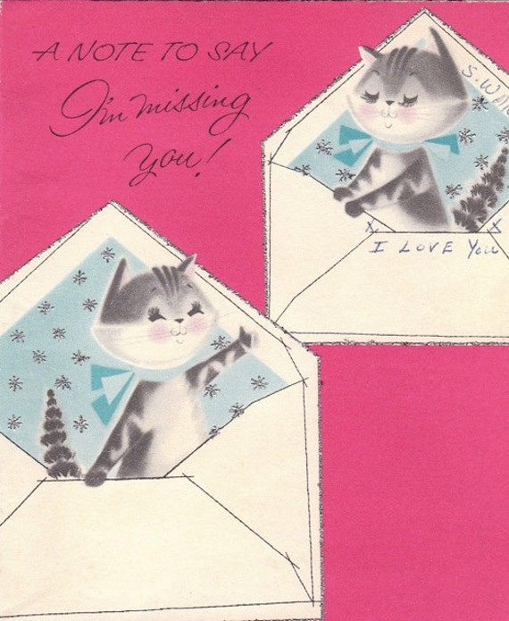A Note To Say I'm Missing You- 1950s Vintage Norcross Greeting Card- Used