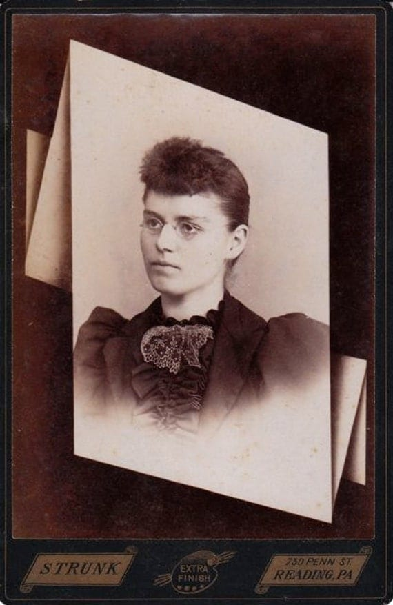 The Better to See You- Woman in Spectacles-  Victorian Memorial Portrait- Reading, Pennsylvania- 1800s Antique Photograph- Old Cabinet Photo