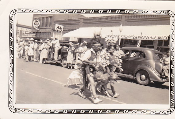 Native American Children- Walking in the Parade- 1940s Vintage Photograph- Snapshot