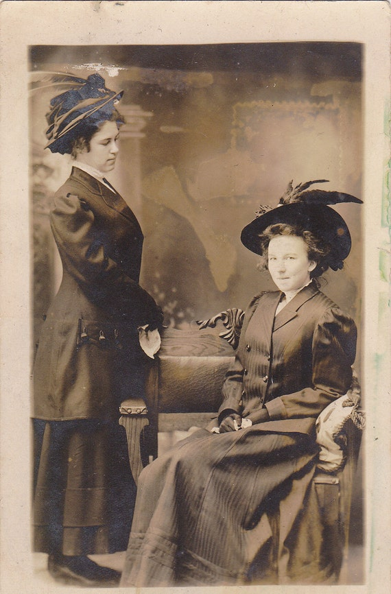 Florence Clarke and Her Sister- Edwardian Women- 1900s Vintage Photograph- RPPC