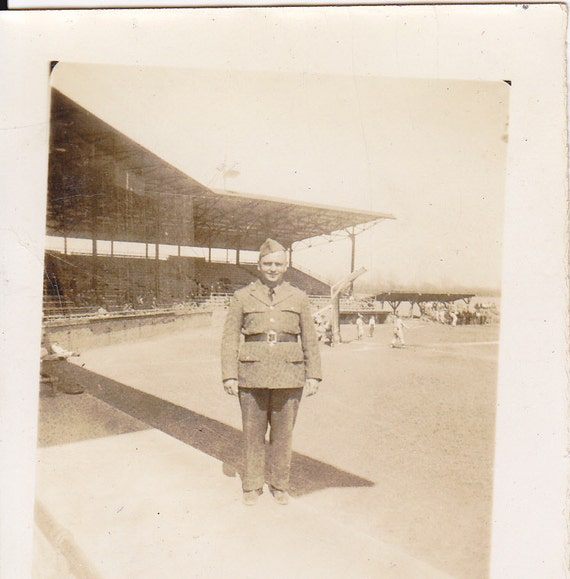 Soldier at the Ball Park- 1940s Vintage Photograph