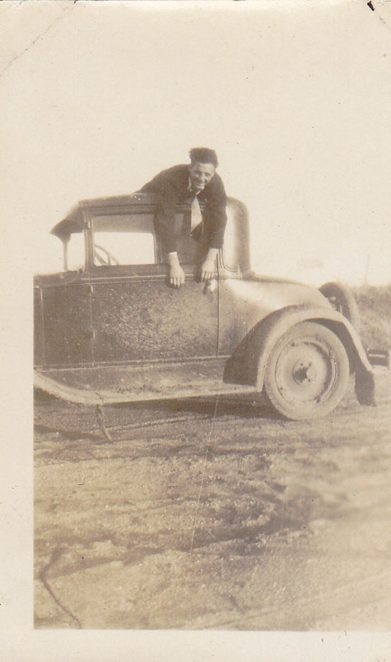 Hanging Around- Automobile- 1920s Vintage Photograph