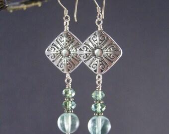 Fluorite Earrings - Spiral Medallion Beads with Fluorite Dangles - Green Fluorite and Silver Earrings - Gemstone Jewelry - Handmade Earrings