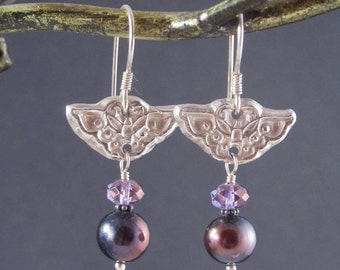 Black Pearl and Fine Silver Earrings - Asian Butterflies - Black Pearls and Purple Crystals - Fine Silver PMC Earrings - Dangle Earrings
