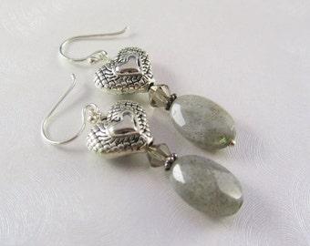 Labradorite Drop Earrings - Grey Labradorite & Puffed Hearts - Swarovski Crystal Earrings - Dangle Gemstone Earrings - Grey Gemstone Jewelry