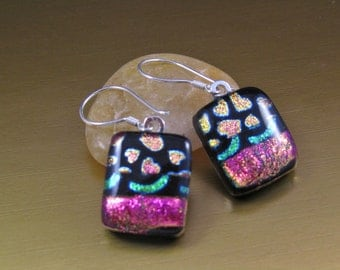 Dichroic Fused Glass Earrings - Pink Hearts  on Black - Hot Pink Dichroic Glass Earrings - Sterling Silver Ear Wires - Fused Glass Earrings