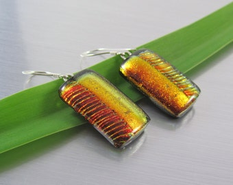 Burnt Orange Fused Glass Earrings - Dichroic Fused Glass Earrings - Orange and Black Jewelry - Textured Dichroic Glass and Sterling Silver