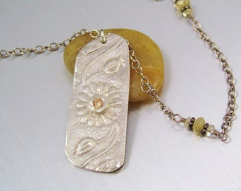 Fine Silver Sunflower Pendant - Handmade Silver Pendant with Twining Vine and Jeweled Flower - Silver Necklace with Citrine   - PMC Jewelry