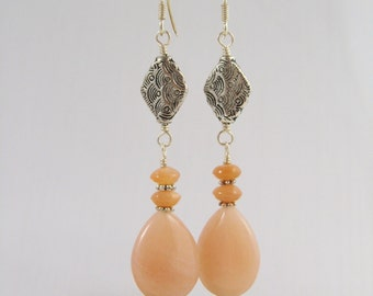 Orange Aventurine Dangle Earrings - Elegant Beaded Dangle Earrings - Peach Aventurine with Moonstone - Secretary Gift - Stocking Stuffer