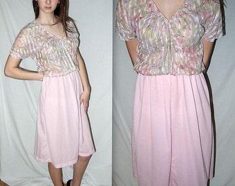 Loves Baby Soft ... vintage 70s semi sheer dress / 1970s disco American Hustle midi / pastel pink rainbow blouson / watercolor   ... S M