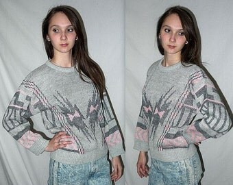Dancing with myself ... Vintage 80s sweater / 1980s knit pullover / pink gray geometric bow  abstract / new wave hipster Cosby