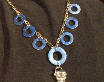 Happy Robot necklace with blue mother of pearl circles