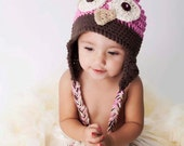 Newborn Baby Crochet Owl Hat - Baby Photography prop in cotton pink and brown - Sizes newborn to 4T