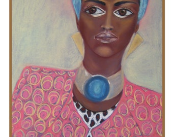 """Large 17.5 """" x 24 """" Original Woman Portrait in Soft Pastels: Beauty and Style. Wall Decor Art ."""