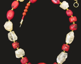 Genuine  Yellow Citrine Sunny Gold Irregular Gems and Red Oval Coral Necklace
