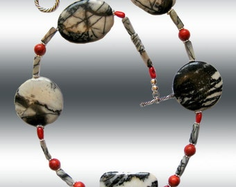 Zebra Jasper Animal Print and Red Coral Natural Gems Necklace   Fashion Jewerly L