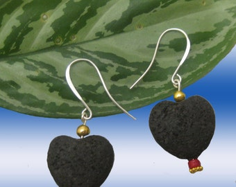 Heart Shaped  Black Lava and Red Coral Drop Dangle  Trendy Earrings