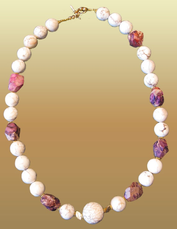 White Turquoise Howlite  Stones And Bronze Purple Violet Jasper Nuggets Necklace . Earthy Tones Nature Inspired .