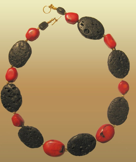 Red Oval Coral and Black Lava Necklace L