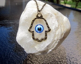 Evil Eye Necklace, Brass Hamsa Necklace, Hamsa with Evil Eye