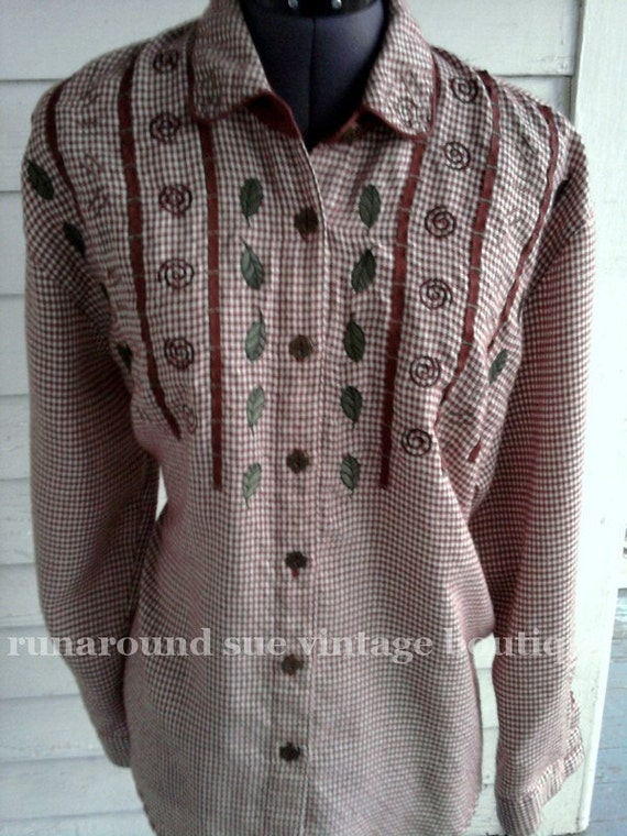 on sale : Vintage Brown & White Houndstooth COUNTRY Blouse