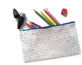 Last One Available Math Class Pencil Case - Handmade Cotton & Linen Supplies Zip Pouch - Curriculum Collection