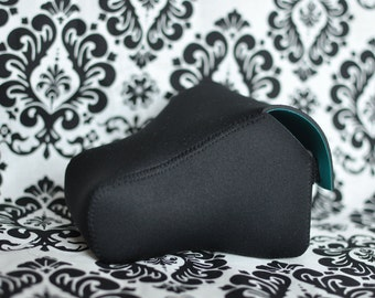 DSLR Camera Case  - black neoprene (with turquoise inside).