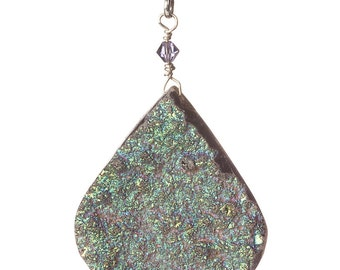 Iridescent Drusy Pendant - MESMERIZING - Free Domestic Shipping - Free US shipping