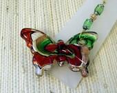 Lampwork Glass Butterfly Fan Pull Red Silver Gold & Green