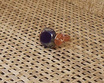 Czech Glass and Copper Ring Plum and Beige