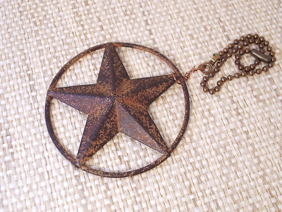 Set Of 2 Texas Star Ceiling Fan Pull Rustic Barn Star
