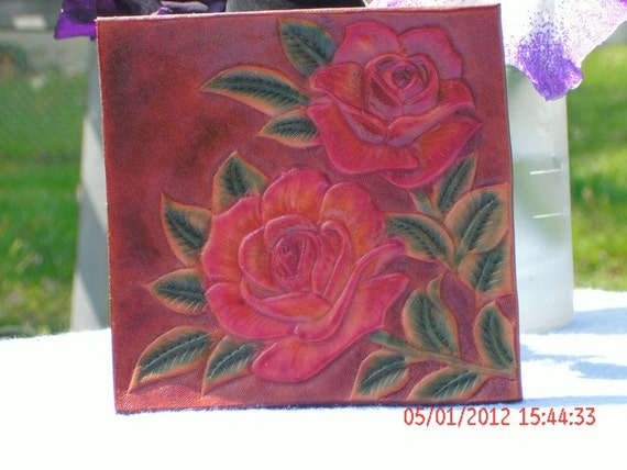Yellow and Red Rose Leather Coaster