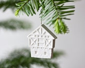german half-timbered house ornament - pure white unglazed porcelain holiday ornament modern designer fachwerkhaus german germany