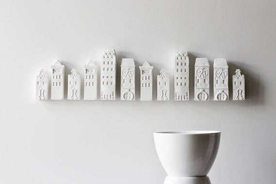 porcelain cityscape architectural wall installation - unglazed porcelain wall decor