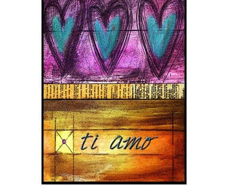 paper collage, mixed media, valetines day cards, Love, greeting cards, heart, italian, ti amo, teal, magenta, for him, for her SET OF 4