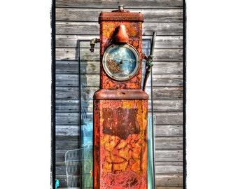 Rustic Gas Pump, Farm, Cabin, rusty, vintage gasoline, Weathered Wood,Orange, Grey, Teal, Blue, Fine Art Photography Print 8x10