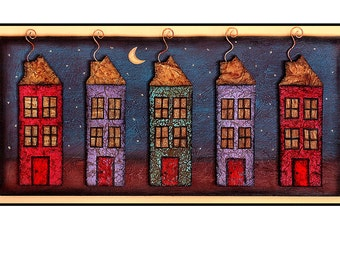 mixed media, paper collage, Houses, night, Home, Houses, neighborhood, moon, stars, Blue, Red, Purple, Friends,  Print 8x10