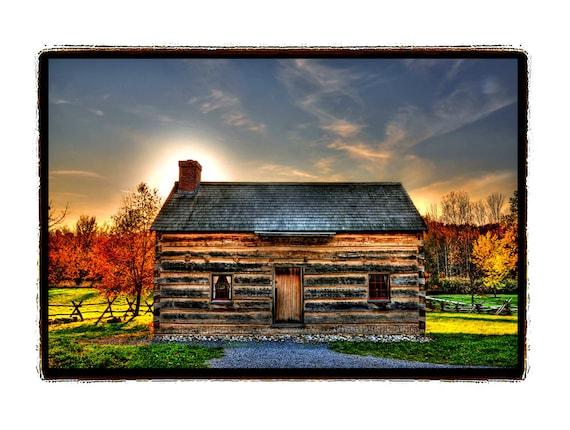 Log Cabin, Sunset, Autumn, Farm, Gold, Red, Cottage, Cabin decor, Wood, Fall foliage, slate blue, Adirondack, Photography Print