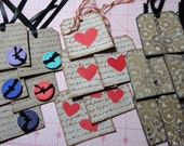 15 Tattered Chic Script Tags.  Hearts. Paris. Eiffel Tower. Buttons. Inked TAG. Die cut Button. Ribbon. Painted and Stamped